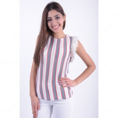 Bluza Bumbac Vero Moda Amari Lace Frill Alb - Pulover dama, Marime: S, M, L, XL