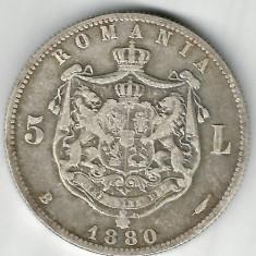 5 LEI 1880 CU SEMNATURA GRAVORULUI PE CERC ARGINT STARE FOARTE BUNA - Moneda Romania