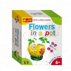 Joc pentru copii Vopseste si decoreaza Flori in oala