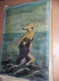Tablou vechi fara rama,pictura veche FEMEIA IN VALURI,de colectie,T.GRATUIT