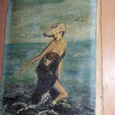 Tablou vechi fara rama,pictura veche FEMEIA IN VALURI,de colectie,T.GRATUIT, Marine, Ulei, Realism