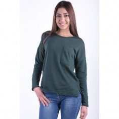 Bluza Bumbac Noisy May Christian O-neck Verde Inchis