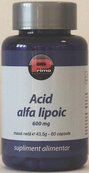 Acid alfa lipoic, 60 capsule, 600 mg/capsula
