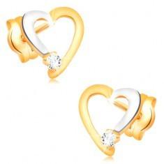 Cercei cu diamante, din aur de 14K - contur inimă cu diamant transparent - Cercei aur