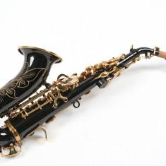Saxofon Sopran curbat Karl Glaser Sopranina negru+auriu Si b nou Germania