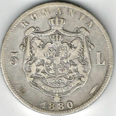 5 LEI 1880 CU SEMNATURA GRAVORULUI SUB GAT  ARGINT STARE  FOARTE BUNA