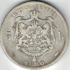 5 LEI 1880 CU SEMNATURA GRAVORULUI SUB GAT ARGINT STARE FOARTE BUNA - Moneda Romania