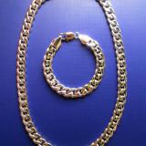 Set bijuterii (lănțișor și brățară) placate cu aur alb 18K - Set bijuterii placate cu aur