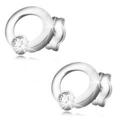 Cercei din aur alb 585 - diamant transparent, strălucitor în cerc lucios - Cercei aur