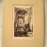 Tablu litografie editie limitata interior biserica Nils Kjarstad, 1956, nr 3/6