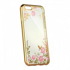 Husa Samsung Galaxy J3 2016 TPU Flori Gold - Husa Telefon Samsung, Auriu, Gel TPU, Fara snur, Carcasa