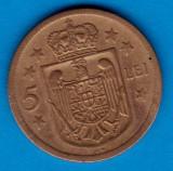 (MR26) MONEDA ROMANIA - 5 LEI 1930 KN, REGENTA , MIHAI I