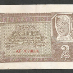 POLONIA 2 ZLOTI ZLOTE 1941, Ocupatie Nazista [2] P-100, VF+ - bancnota europa
