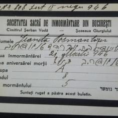 Buletin Societatea sacra de inmormantare Bucuresti, Cimitirul Bellu 1946 - Hartie cu Antet