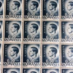 TIMBRE REGELE MIHAI 50 Bani - COlita a 100 BUC. - Timbre Romania, Regi, Nestampilat