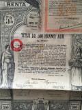 500 Franci Aur Titlu de Stat obligatiune la purtator Renta Romana 1929