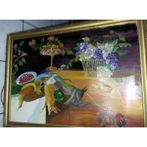 Tablou vechi cu rama,pictura veche  56 cm/77 cm,pictura de colectie,T.GRATUIT
