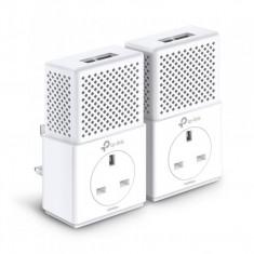 Powerline Kit TP-Link PA7020P, 2x RJ-45, 10/100/1000 Mbps, 128 Bit AES, Alb - Adaptor wireless