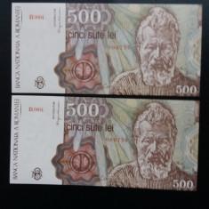 Bancnote romanesti 500lei 1991 aprilie unc serii consecutive - Bancnota romaneasca