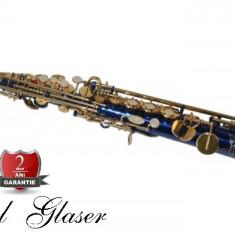Saxofon Sopran NOU Karl Glaser Saxophone drept Si b Sax Germania Albastru+Auriu