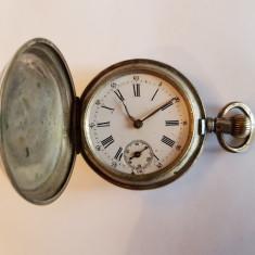 CEAS VECHI DE BUZUNAR CU 3 CAPACE DE ARGINT - sec. 19 - Ceas de buzunar vechi