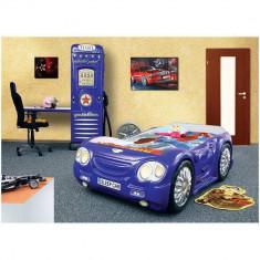 Pat si dulap camera copii - Plastiko - Albastru - Set mobila copii