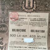 500 Lei Aur Bucuresci ( Bucuresti) obligatiune la purtator 1895