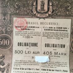 500 Lei Aur Bucuresci ( Bucuresti) obligatiune municipala  la purtator 1895