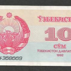 UZBEKISTAN 10 SUM / SOM 1992 [1] P-64a, XF - bancnota asia