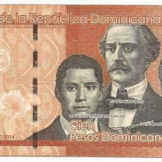 REPUBLICA  DOMINICANA   100  PESOS  DOMINICANOS  2014  [8]  P-190  ,  VF