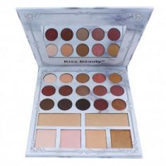 Trusa farduri 15 culori + 6 nuante Iluminator Kiss Beauty - 2