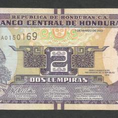 HONDURAS 2 LEMPIRAS 2012 [1] P-97a, XF - bancnota america