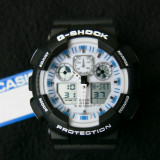 CASIO G-SHOCK GA-100-1A4ER BLACK&WHITE FACE-MADE IN JAPAN-MANUAL-POZE REALE - Ceas barbatesc Casio, Sport, Quartz, Cauciuc, Alarma, Analog & digital