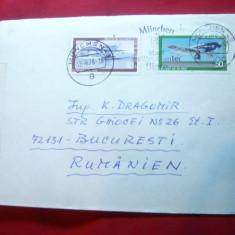 Plic circulat, francat cu 40 si 50 pf - Aviatie 1979 Germania