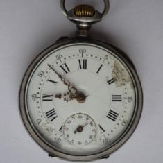 CEAS DE BUZUNAR ARGINT, CYLINDRE, 10 RUBINE, FUNCTIONAL - Ceas de buzunar vechi