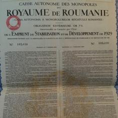2552 Franci Aur  Titlu de Stat Obligatiune  neincasata la purtator Romania 1929