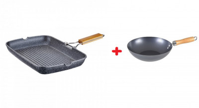 Tigaie grill patrata cu interior granit, 35×25.5×4.5cm, peterhof + Tigaie wok 28 cm cadou foto