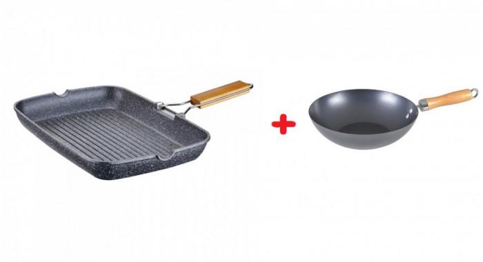 Tigaie grill patrata cu interior granit, 35×25.5×4.5cm, peterhof + Tigaie wok 28 cm cadou foto mare