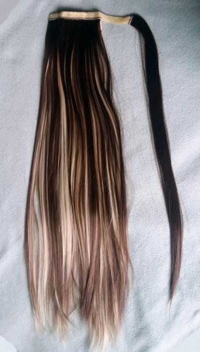 Extensie Coada Par Sintetic Ponytail Intins Castaniu Suvite Blonde