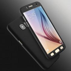 Husa Samsung Galaxy S7 Edge Fata Spate 360 Neagra, Negru, Plastic