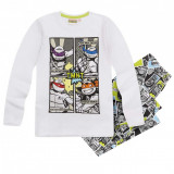Pijama cu maneca lunga Ninja Turtles alb/gri imprimat