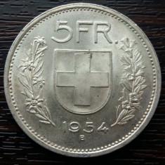 (A133) MONEDA DIN ARGINT ELVETIA - 5 FRANCS 1954, Europa