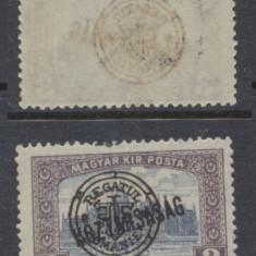ROMANIA 1919 Emisiunea Oradea parlament koztarsasag eroare 3 L sursarj deplasat - Timbre Romania, Nestampilat