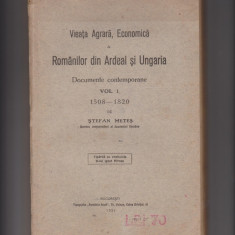 VIATA AGRARA, ECONOMICA a ROMANILOR DIN ARDEAL SI UNGARIA (1921)