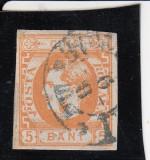 ROMANIA 1869 LP 25 CAROL I  FAVORITI  NEDANT. VALOARE 5  BANI  PORTOCALIU STAMP., Stampilat