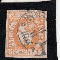 ROMANIA 1869 LP 25 CAROL I FAVORITI NEDANT. VALOARE 5 BANI PORTOCALIU STAMP. - Timbre Romania, Stampilat