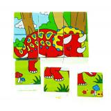 Cuburi puzzle din lemn cu 6 dinozauri