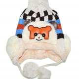 Caciula tricotata imblanita pentru baieti, 1-2 ani