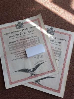 Obligatiune la purtator - Titlu de stat 1000 Franci Aur Romania 1931 cu cupoane foto