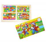 Set de 4 puzzle uri din lemn cu ursuleti